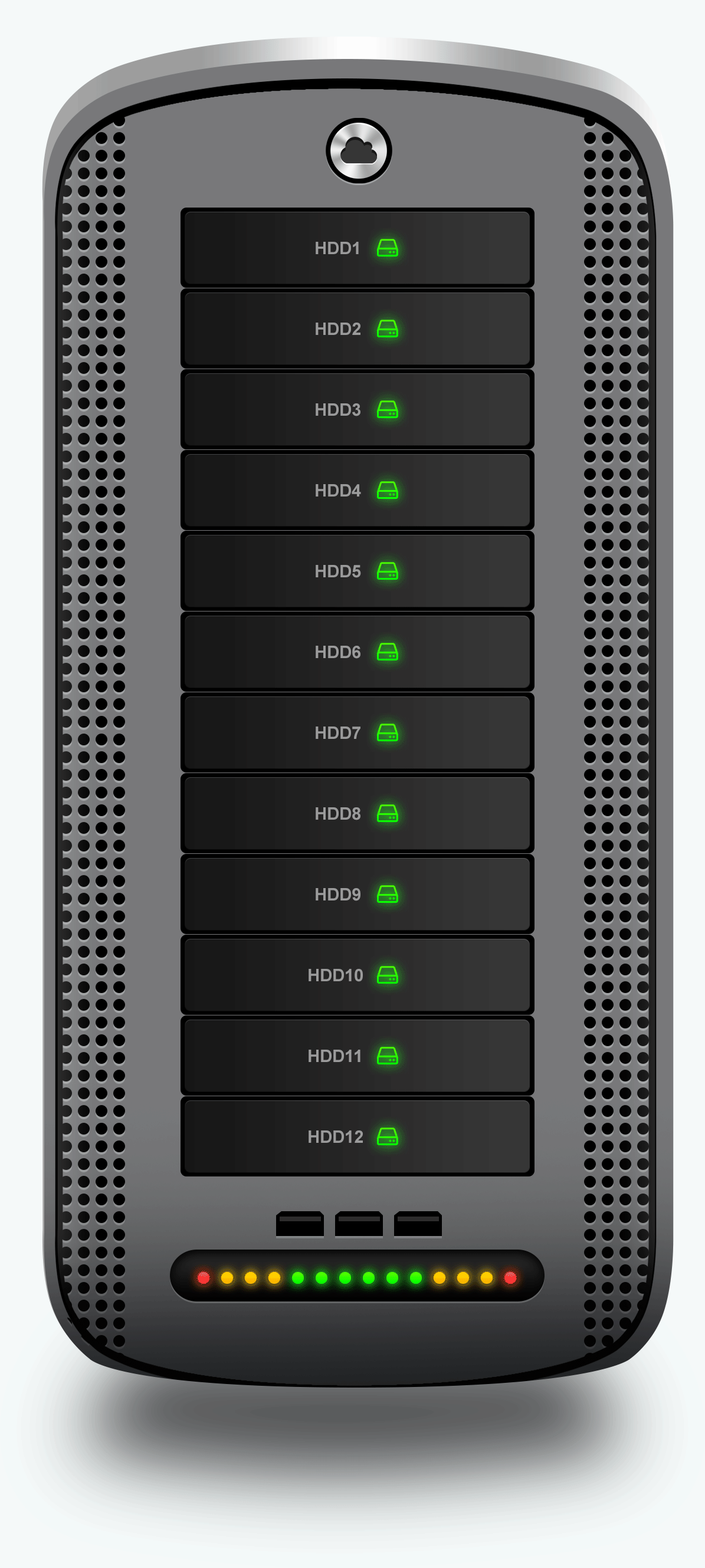 04 02 Hosting Server Pro Series GRAY Single Front View with Custom Logo 1